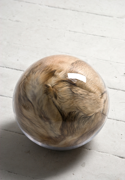 Adeline de Monseignat, Hairy Eye Ball, 2011, Vintage Fur, pillow filler and glass, 30 x 30 x 26 cm, courtesy the artist and Ronchini Galley