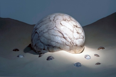 Adeline de Monseignat, Loleta, 2012, Vintage Fur, pillow filler, glass, motor, wood on 2 tonnes of sand, Variable installation, Courtesy the artist and Ronchini Gallery
