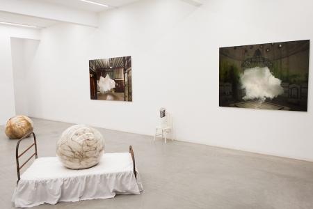 Installation image, The Uncanny: Adeline de Monseignat and Berndnaut Smilde, Ronchini Gallery London, photo Susanne Hakuba