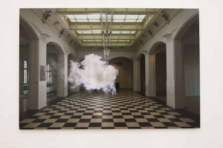 Installation image, The Uncanny: Adeline de Monseignat and Berndnaut Smilde, Ronchini Gallery London, photo Susanne Hakuba