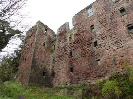The imposing walls of Roslin Castle