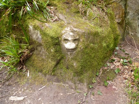 A mysterious carved face in Roslin Glen