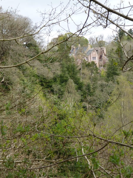 The distant rooftops of Hawthornden Castle
