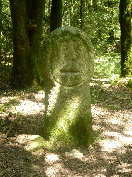 The carved face of Babouin