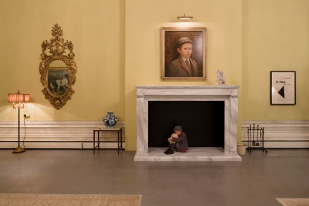 A strange figure cowers in the fireplace in Tomorrow All images courtesy of the artists and Victoria Miro, London