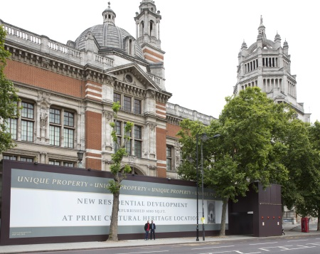 Controversial hoardings outside the V&A, London