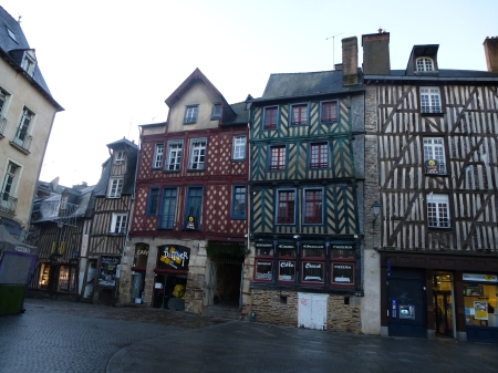 Colourful houses in the Place Sainte-Anne, Rennes