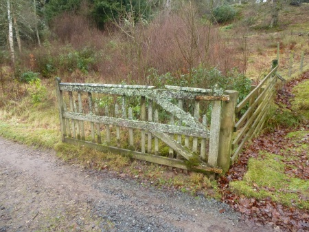 A lichen-covered gate in the grounds of Penicuik House