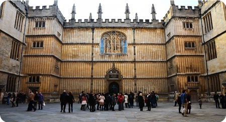 The impressive entrance to Oxford University's Bodleian Library