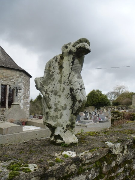 A lichen-covered carving in Trégranteur, Brittany