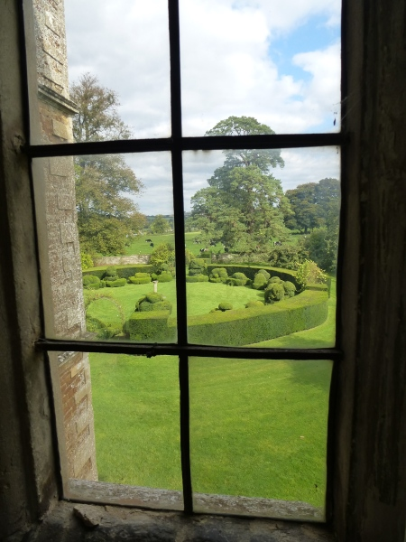 Looking out into the magical garden of Chastleton House, Oxfordshire