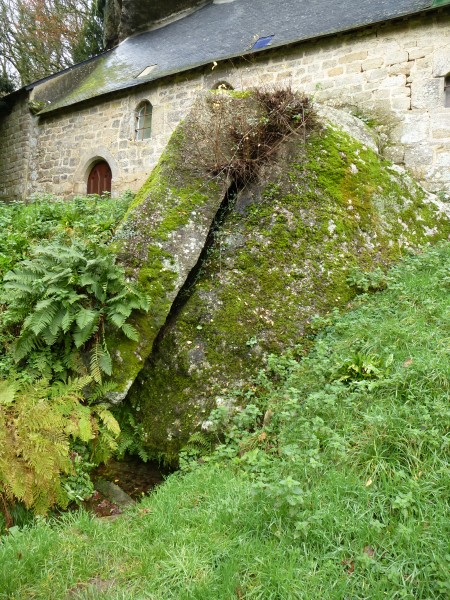 The holy spring emerging from a rock below the chapel of St Gildas, Morbihan