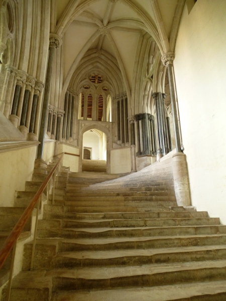 The worn stairs leading up to Wells Cathedral chapter house
