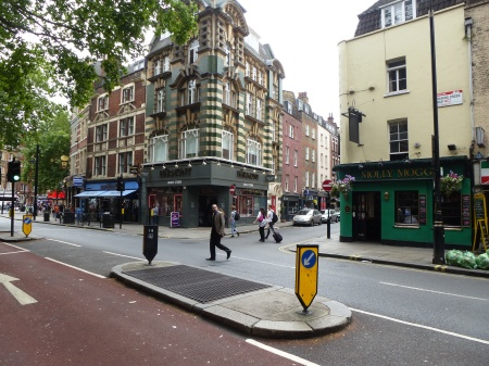 A traffic island on London's Charing Cross Road